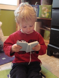 """During Bible time during school today """"taco"""" pulls out his bible and insisted on reading to the us.. BLESSED"""