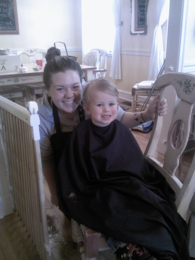 getting ALL our hair cut for Easter:)