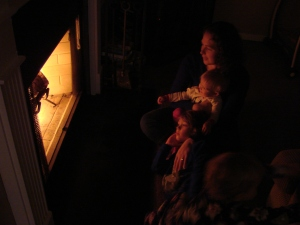freezing (37 degrees, so a fire made by daddy!)