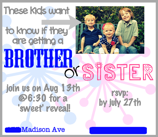 The invitation I created to go along with our Brother/Sister Theme
