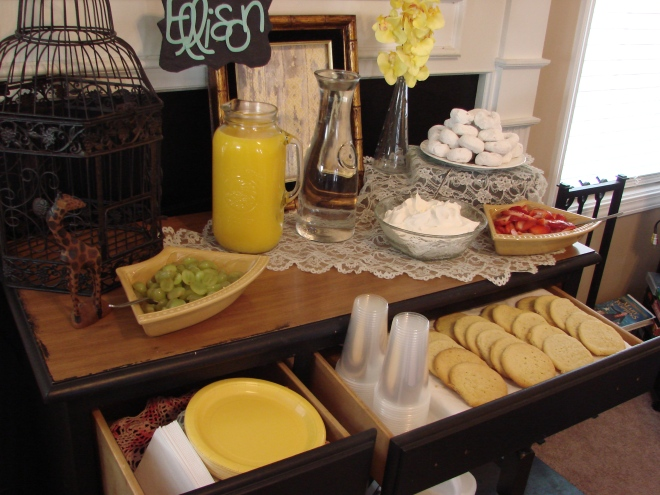 a desk turned dessert table.. sugar cookie bar (add whip topping and fruit)