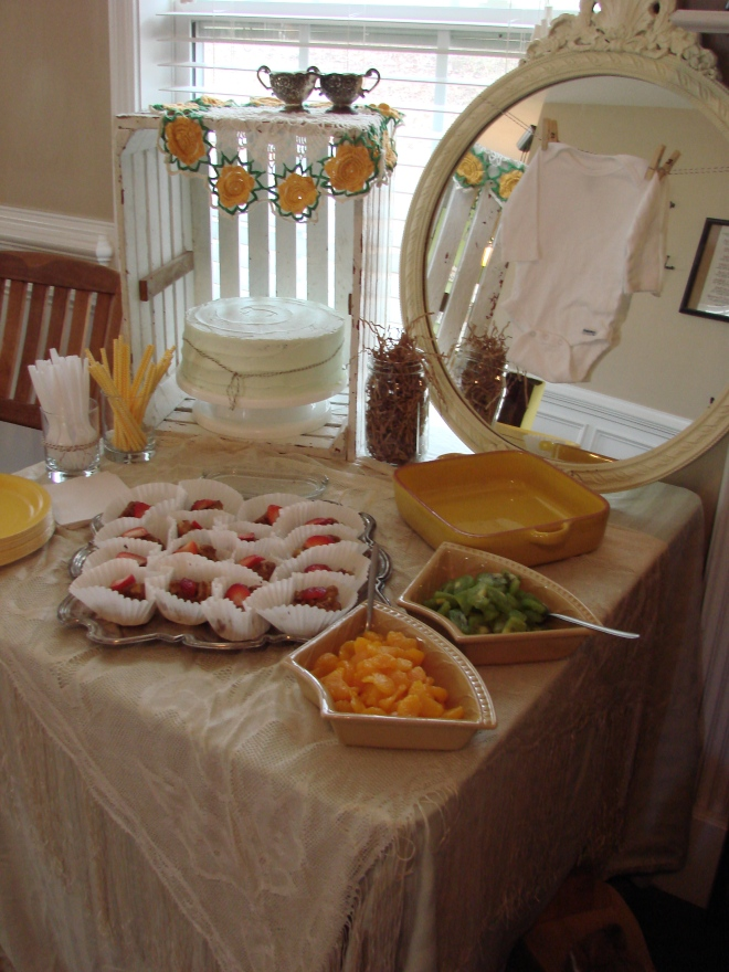 brunch table.. French toast cups, sausage balls (not shown) Mint chocolate chip cake