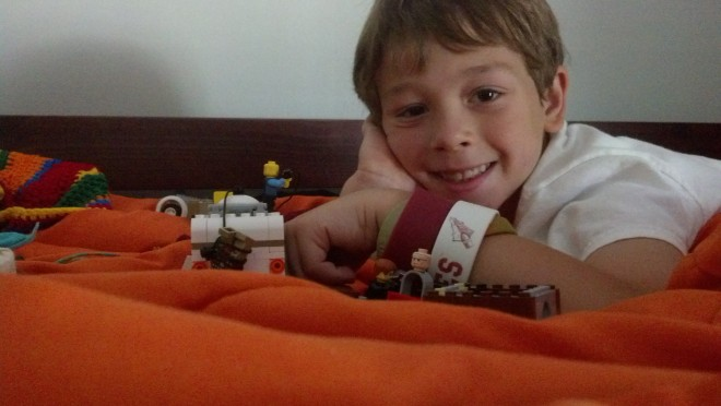 my pride and joy! with HIS pride and joys - legos!