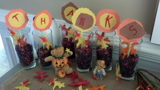 Last year we hosted Thanksgiving and the boys made this for our table.. I love the way they wrote and cut it out!! SOO glad i saved it!