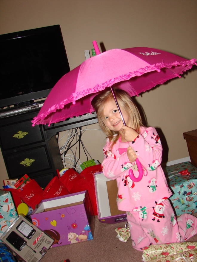 Selah got a monogramed umbrella (from aunt stack), lego castle, & rapunzsel the doll,