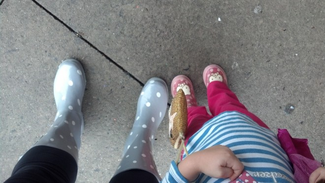 a bit of rain calls for poke a dot rain boots DUH! :)